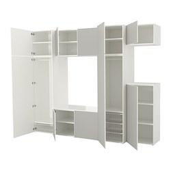 PLATSA - Wardrobe, white/Skatval light grey