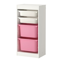 TROFAST - Storage combination with boxes, white/white pink
