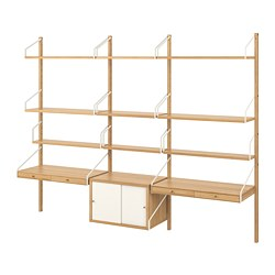 SVALNÄS - Wall-mounted workspace combination, bamboo/white