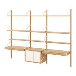 SVALNÄS - Kombinasi rak kerja untuk dinding, bambu/putih