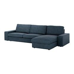 KIVIK - Sofa 4 dudukan, dengan chaise longue/Hillared biru tua