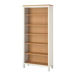 HEMNES - Bookcase, white stain/light brown, 90x198 cm
