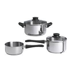 ANNONS - ANNONS, 5-piece cookware set, glass/stainless steel