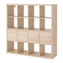 KALLAX - KALLAX, unit rak dengan 4 sisipan, efek kayu oak diwarnai putih, 147x147 cm
