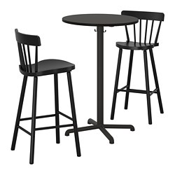 STENSELE/NORRARYD - Meja bar dan 2 bangku bar, antrasit antrasit/hitam