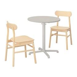 RÖNNINGE/STENSELE - Meja dan 2 kursi, abu-abu muda/abu-abu muda kayu birch