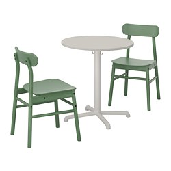 RÖNNINGE/STENSELE - Meja dan 2 kursi, abu-abu muda/abu-abu muda hijau