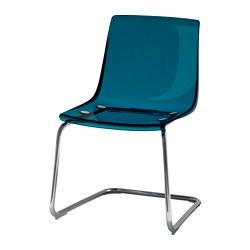 TOBIAS - Chair, blue/chrome-plated