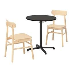 RÖNNINGE/STENSELE - Meja dan 2 kursi, antrasit/antrasit kayu birch