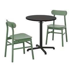 STENSELE/RÖNNINGE - Meja dan 2 kursi, antrasit antrasit/hijau