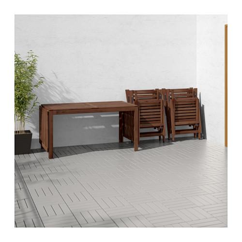ÄPPLARÖ meja+4 kursi recliner, l.ruang