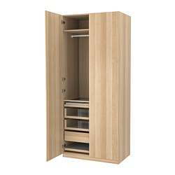 PAX/FORSAND - Wardrobe combination, white stained oak effect/white stained oak effect