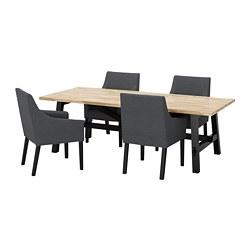 SAKARIAS/SKOGSTA - Meja dan 4 kursi, akasia hitam/Sporda abu-abu tua