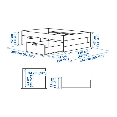 BRIMNES - rangka tempat tidur dg penyimpanan, putih/Luröy, 120x200 cm | IKEA Indonesia - PE760062_S4