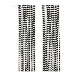 KLARASTINA - Curtains, 1 pair, white/black
