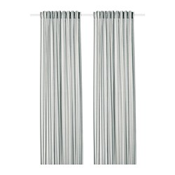 PRAKTKLOCKA - Curtains, 1 pair, grey/striped