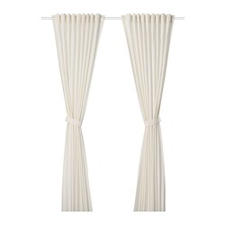 AMILDE - Curtains with tie-backs, 1 pair, white