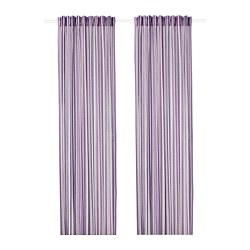 PRAKTKLOCKA - Curtains, 1 pair, lilac/striped