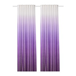 STRANDTRIFT - Curtains, 1 pair, lilac/white