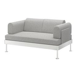 DELAKTIG - Sofa 2 dudukan, Tallmyra putih/hitam