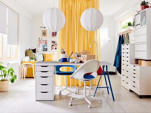 BLYSKÄR/LOBERGET - kursi putar dengan alas , putih/biru | IKEA Indonesia - PH172225_S4