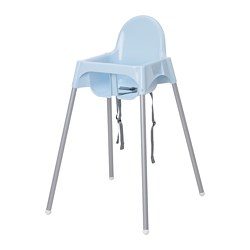 ANTILOP - Kursi makan anak dg tali pengaman, biru muda/warna perak