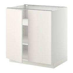 METOD - Kabinet dasar dg rak/2 pintu, putih/Veddinge putih