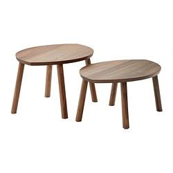 STOCKHOLM - Meja bersusun, set isi 2, veneer kayu walnut