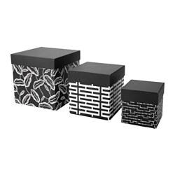 AVSIKTLIG - Kotak dengan penutup, set isi 3, hitam/putih
