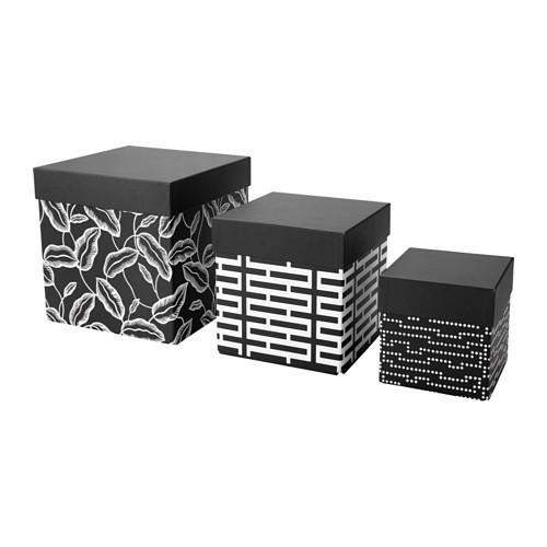 AVSIKTLIG kotak dengan penutup, set isi 3