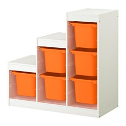 TROFAST - Kombinasi penyimpanan, putih/oranye