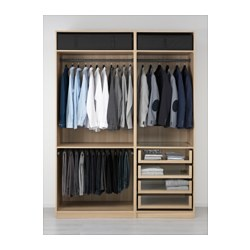 PAX - Wardrobe, white stained oak effect