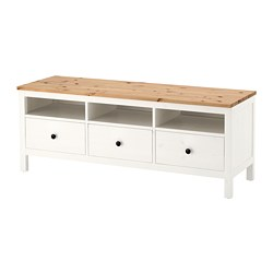 HEMNES - TV bench, white stain/light brown