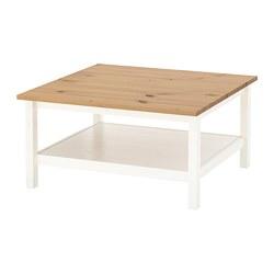 HEMNES - Meja tamu, warna putih/cokelat muda