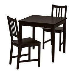 STEFAN/LERHAMN - Meja dan 2 kursi, hitam-cokelat/cokelat-hitam