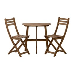 ASKHOLMEN - Meja dinding+2 kursi lipat, l.ruang, diwarnai abu-abu cokelat