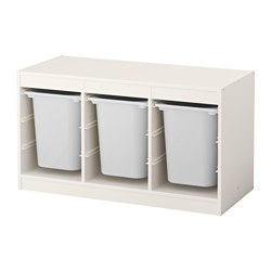 TROFAST - Storage combination with boxes, white/white