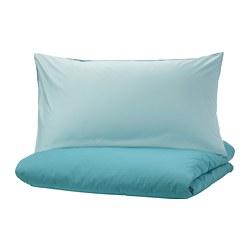 DVALA - Sarung quilt dan 2 sarung bantal, biru