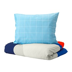 MÖJLIGHET - Quilt cover and pillowcase, blue/graphical patterned