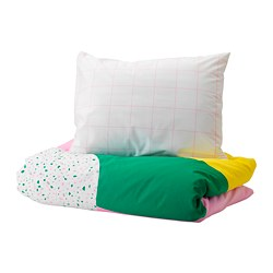 MÖJLIGHET - Quilt cover and pillowcase, pink/graphical patterned
