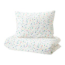 MÖJLIGHET - Quilt cover and pillowcase, white/mosaic patterned