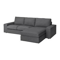 KIVIK - Sofa 3 dudukan, dengan chaise longue/Skiftebo abu-abu tua