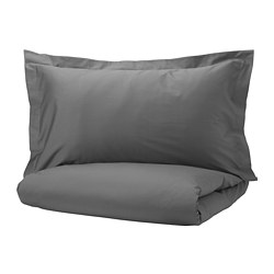 LUKTJASMIN - Quilt cover and 4 pillowcases, dark grey