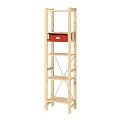 IVAR - 1 section/shelves/drawers, pine/red