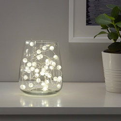 SNÖYRA - LED lighting chain with 40 lights, indoor/battery-operated silver-colour