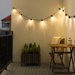 SVARTRÅ - LED lighting chain with 12 lights, black/outdoor