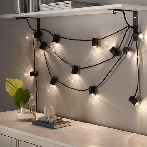 SVARTRÅ rantai lampu LED dengan 12 lampu