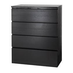 MALM - Chest of 4 drawers, black-brown
