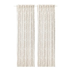 VINTERJASMIN - Curtains, 1 pair, white/beige