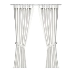 LENDA - Curtains with tie-backs, 1 pair, white